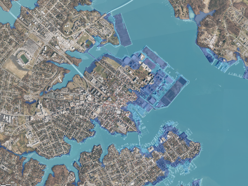 Sea level rise threat to Annapolis Map
