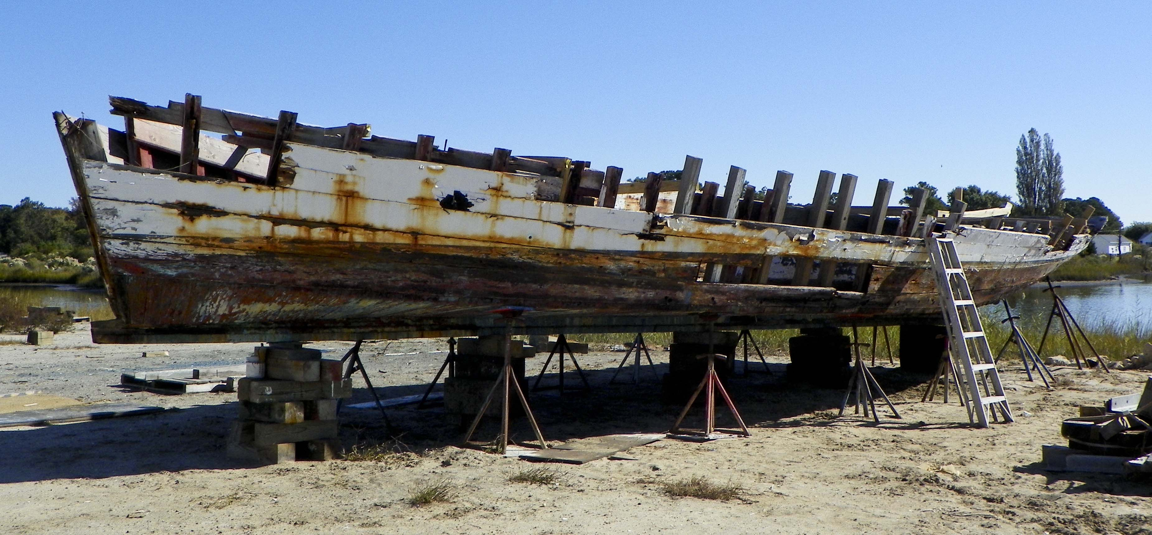 Skipjack George W. Collier waits for restoration at Deal Island.