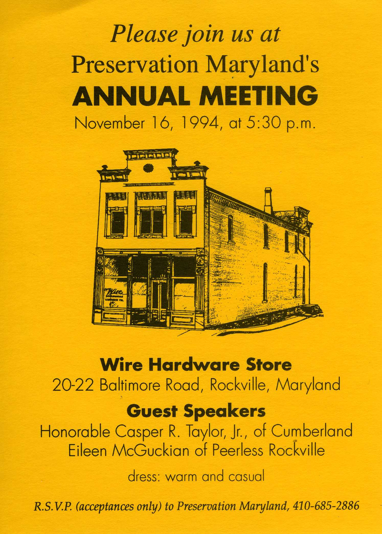 Invitation to Preservation Maryland's meeting at Wire Hardware
