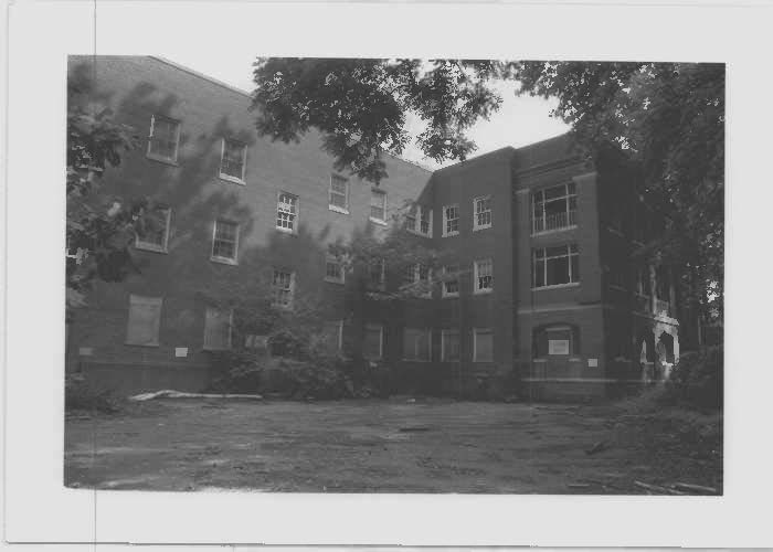 Image of the Finucan Hall employee building at rear elevation at Glenn Dale Hospital