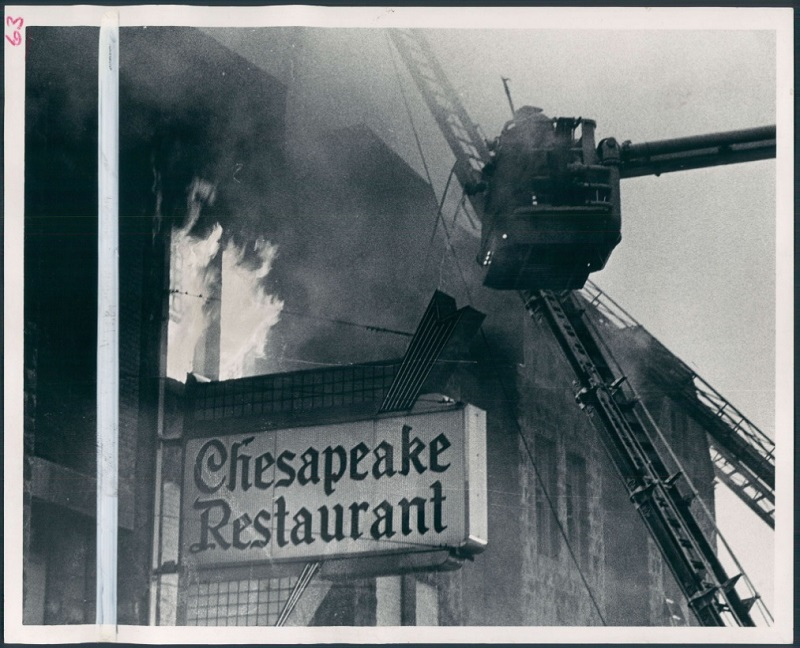 The fire at the Chesapeake Restaurant, 1700 block North Charles Street, went to five alarms. Clarence B. Garrett, Baltimore Sun file photo, 1974. Via Retro Baltimore, Baltimore Sun.