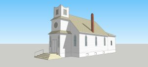 Digital rendering of the Pleasant View Church. Drawn by My Ly, 2015.