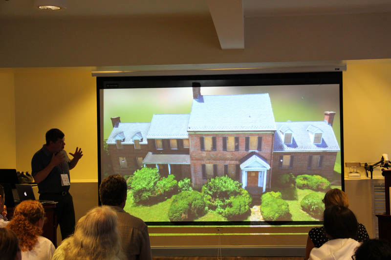 Terry Kilby, Elevated Element, showing digital model of Whites Hall, the birthplace of Johns Hopkins.