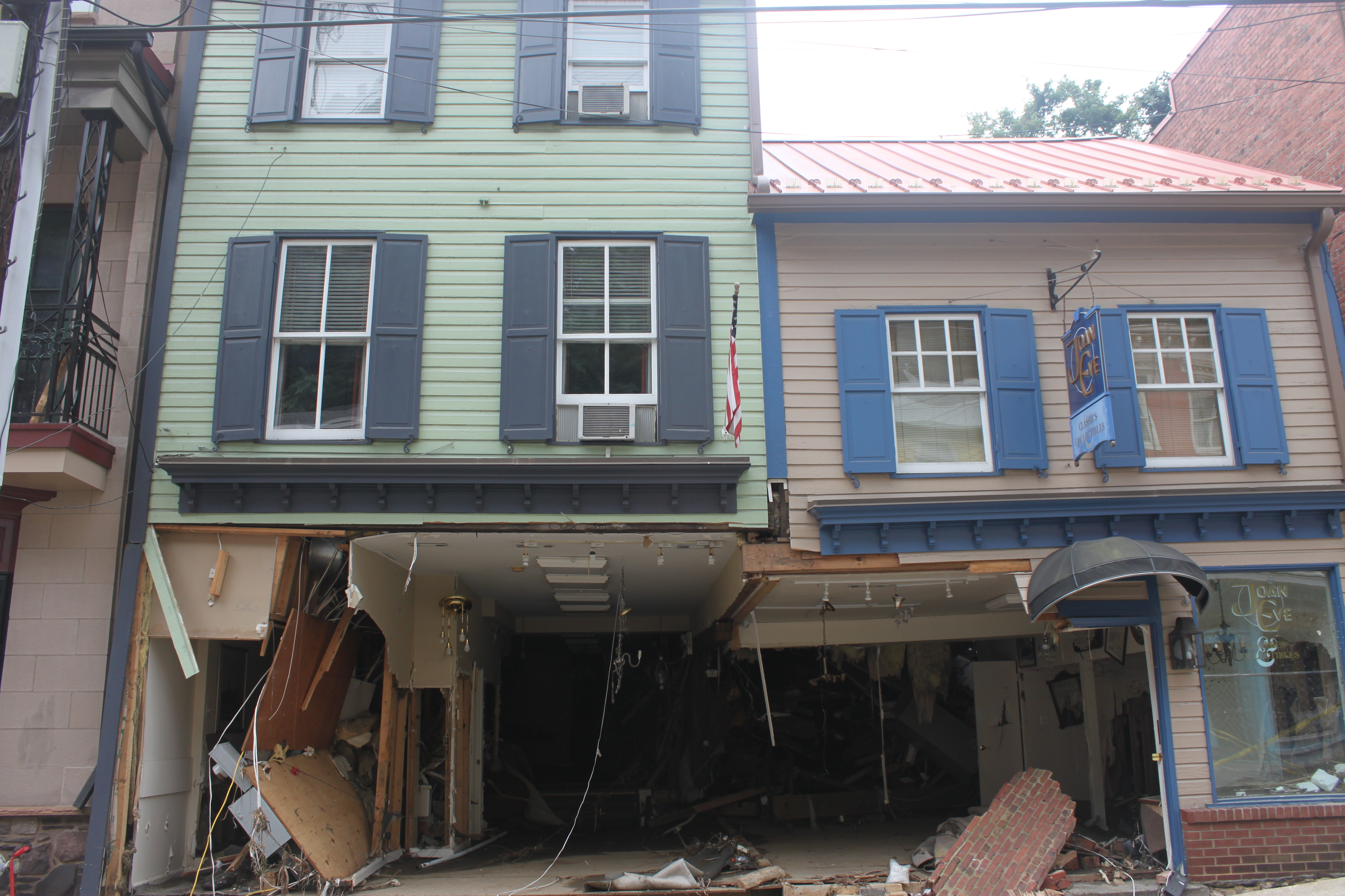 Some of the oldest buildings in Ellicott City, damaged by the flood.