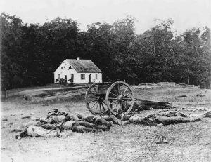 Fallen Union and Confederate Soldiers at The Dunker Church, Antietam, Maryland,1862.