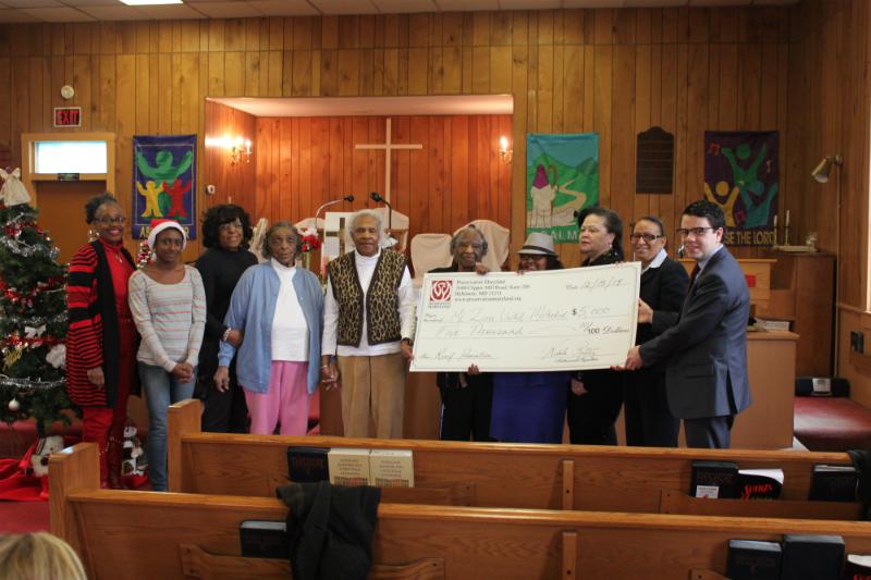 Heritage Fund check presentation at Mt. Zion, 2014.