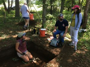 Matt Nickelson, Virginia Busby, and Mandy Melton partaking in a historic dig