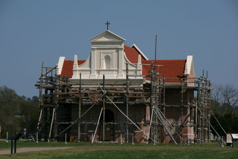 An image of the reconstruction of the brick chapel at St. Mary's City. Built on the site of the original 1667 church, the reconstruction was finished in 2009.