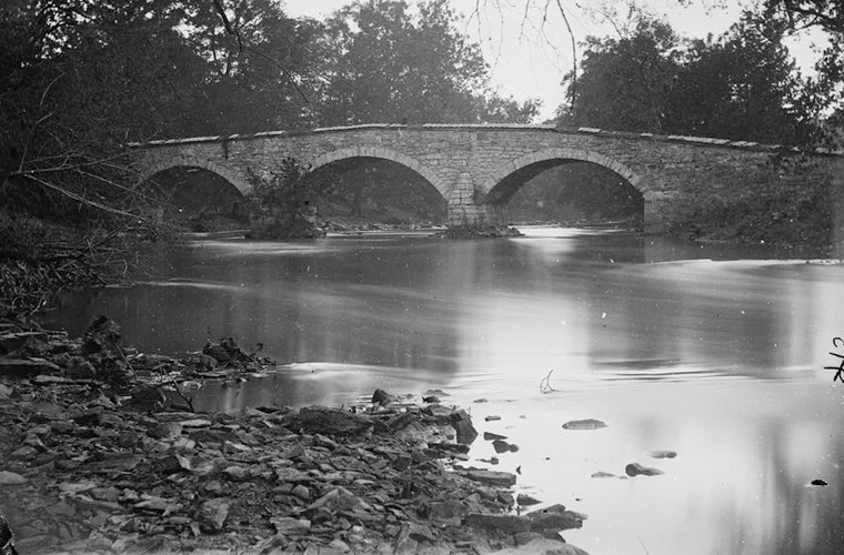 Burnside Bridge in 1862, Antietam National Battlefield.