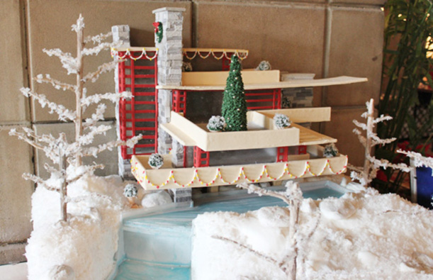 Wright's Falling Water in Gingerbread by Tsontakis Architecture with Classic Cakes & Confections.