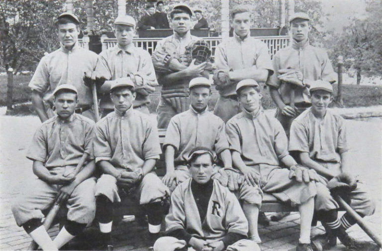 Babe Ruth with his team from St. Mary's Industrial School for Boys, Baltimore, 1914.