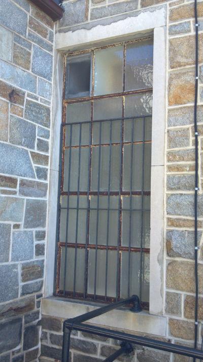 Metal window at Randallstown Community Center, Baltimore.