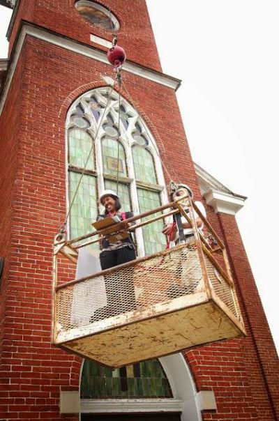 Reed and Bucher at historic Asbury Church, Easton.
