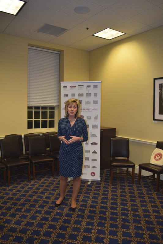 Secretary Wendi Peters addresses the group.