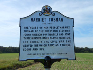 Harriett Tubman highway marker, 2014. Photo from the Maryland State Highway Administration.