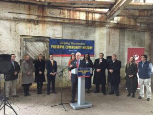 Sen. Cardin at the Phillips Packing Plant historic tax credit project, 2017.