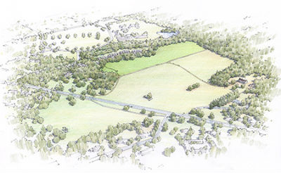 Rendering of Princeton Battlefield. Graphic from Civil War Trust.