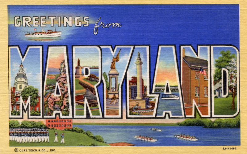 """Postcard reading, """"Greetings from Maryland"""""""