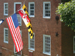 Flags at historic Union Mill.