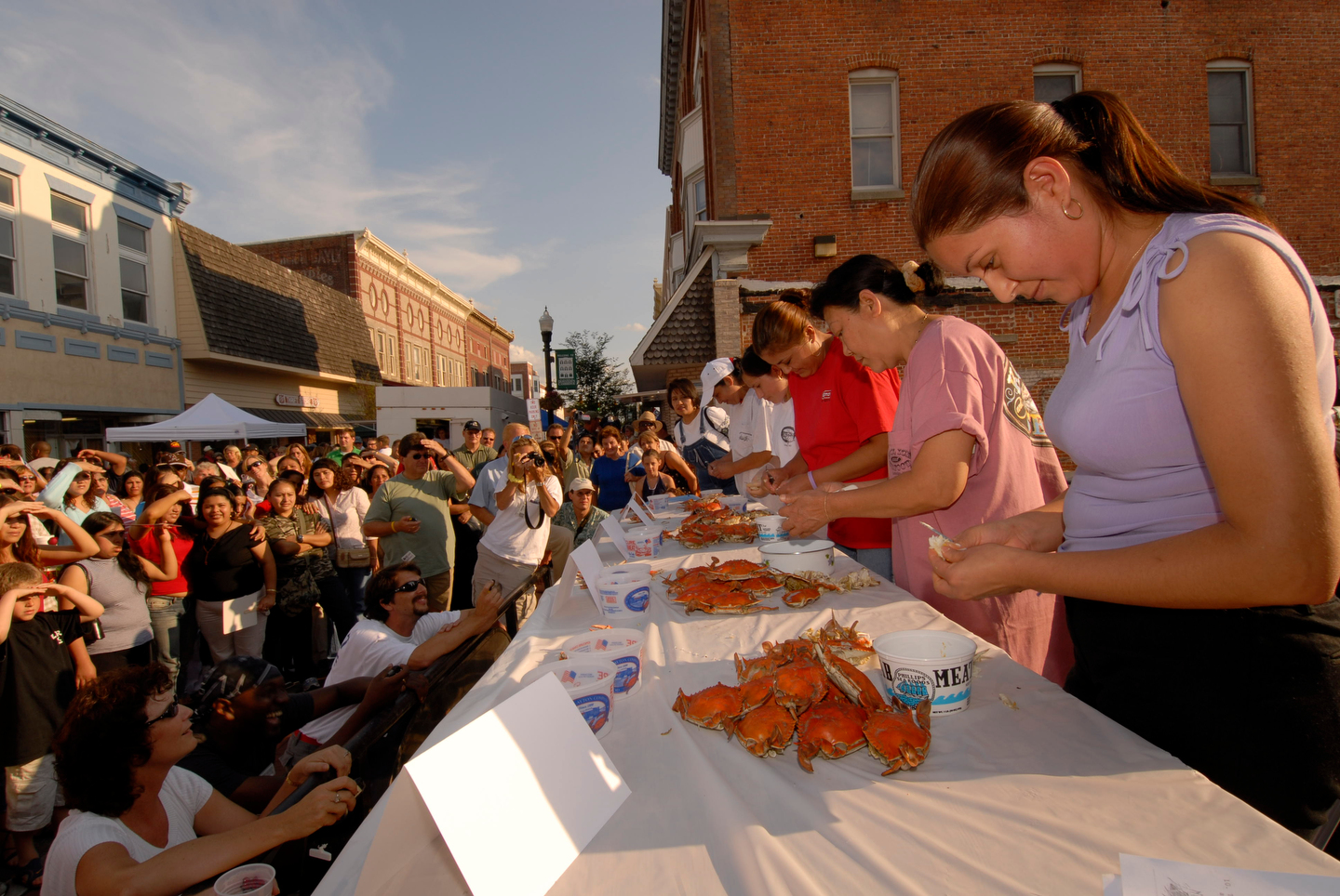 A crab picking contest on Race Street in Cambridge. Photo from The Packing House.