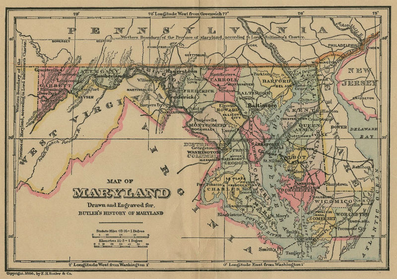 Historic map of Maryland, 1886. Map from the University of Maryland.