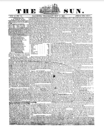 The first issue of The Sun, 1837.