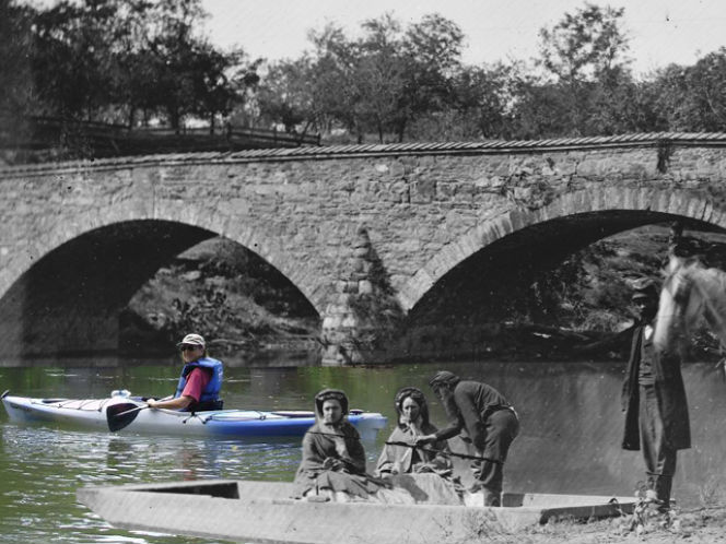 Graphic of Antietam Creek, past and present, by Civil War Trails, Inc.