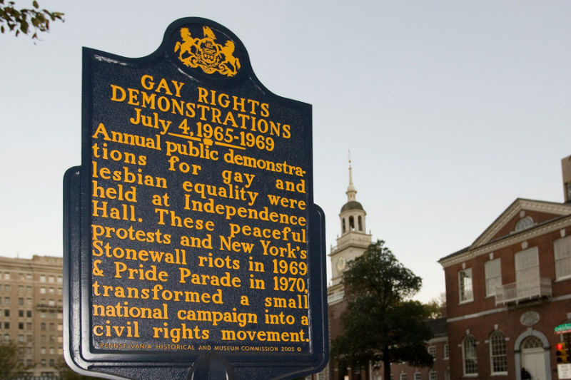 LGBTQ history historic marker at Independence Hall. Photo from Visit Philadelphia.