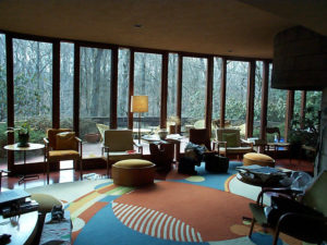 Interior of the Robert Llewellyn House designed by Frank Lloyd Wright in 1953.