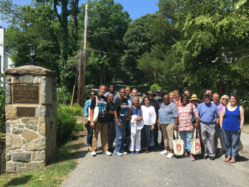 Preservation Maryland tour group at Highland Beach, 2017.