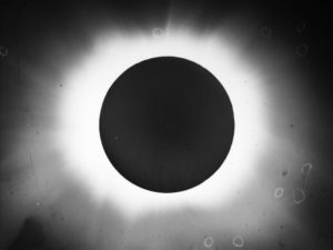 Image of 1908 total solar eclipse, Flint Islands. Photo from National Center for Atmospheric Research.