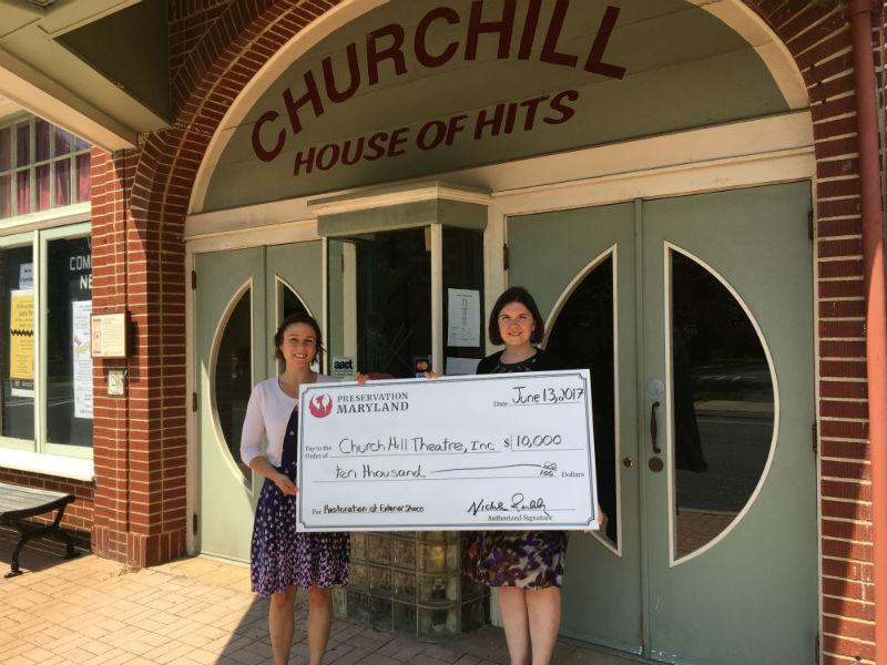 Jessica Feldt presents Heritage Fund check at Churchill Theatre, 2017.