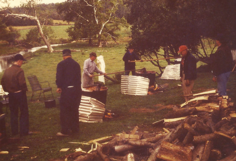 Making apple butter at Little Elk Farm, 1988. Photo from Elk Creek Preservation Society.