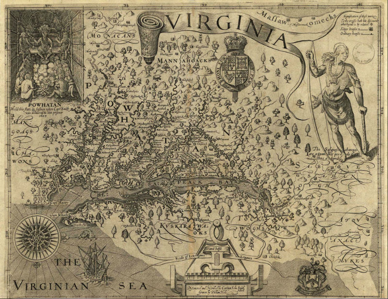 Captain John Smith's map of the Chesapeake region, 1612.