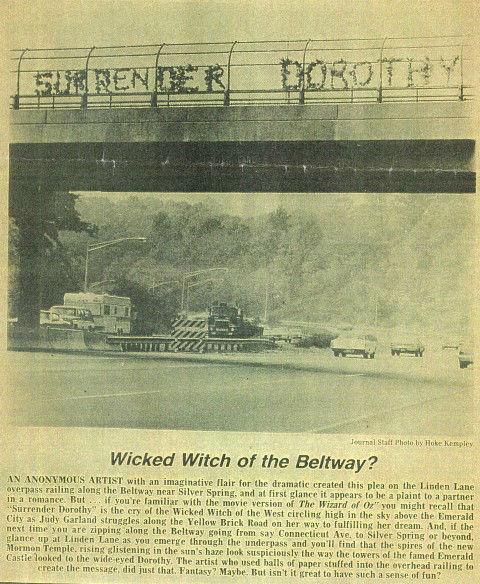 The original prank, 1974. Photo from the Montgomery Journal via The Washington Post.