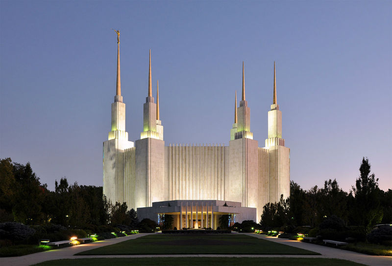 Washington D.C. Mormon Temple in Maryland. Photo from WikiCommons.