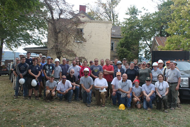 Staff of the National Historic Preservation Training Center at Shafer Farm House, Burkittsville, MD, 2017.