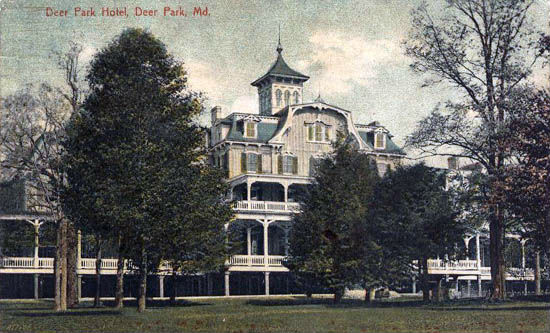 Penny postcard of Deer Park Hotel. Scan from US Gen Web Archive.