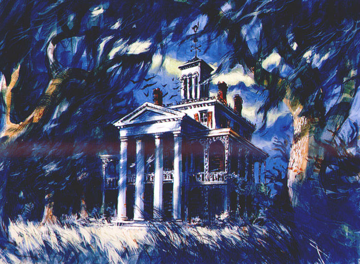 Haunted mansion concept painted by Disney imangineer, Sam McKim.