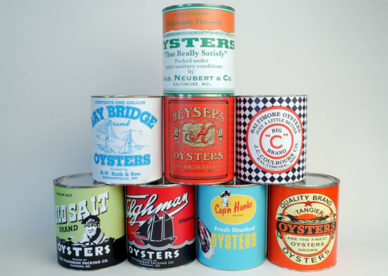 Replica oyster tins by Chesapeake Bay Maritime Museum.