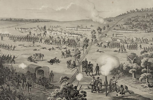 Fighting at South Mountain Battlefield.