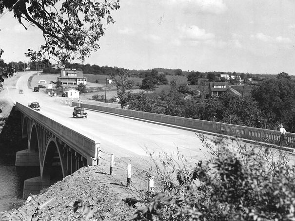 The Conococheague River Bridge, 1936. Photo from the Maryland Department of Transportation.
