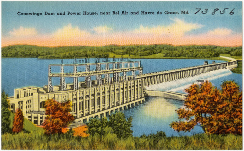 """Vintage Postcard Reading, """"Conowingo Dam and Power House, near Bel Air and Havre de Grace, Md."""""""