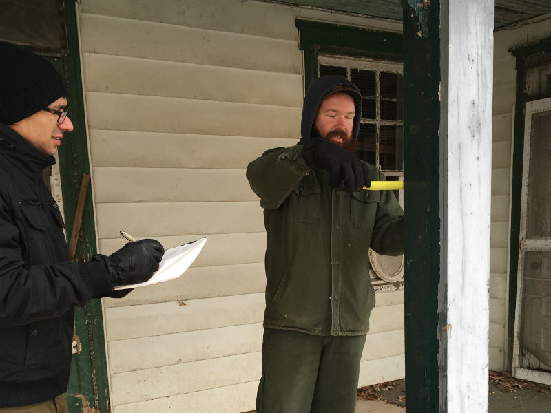 preservationists site visit in the winter of 2018 to document The Hornbaker House and to investigate the evolution of the house