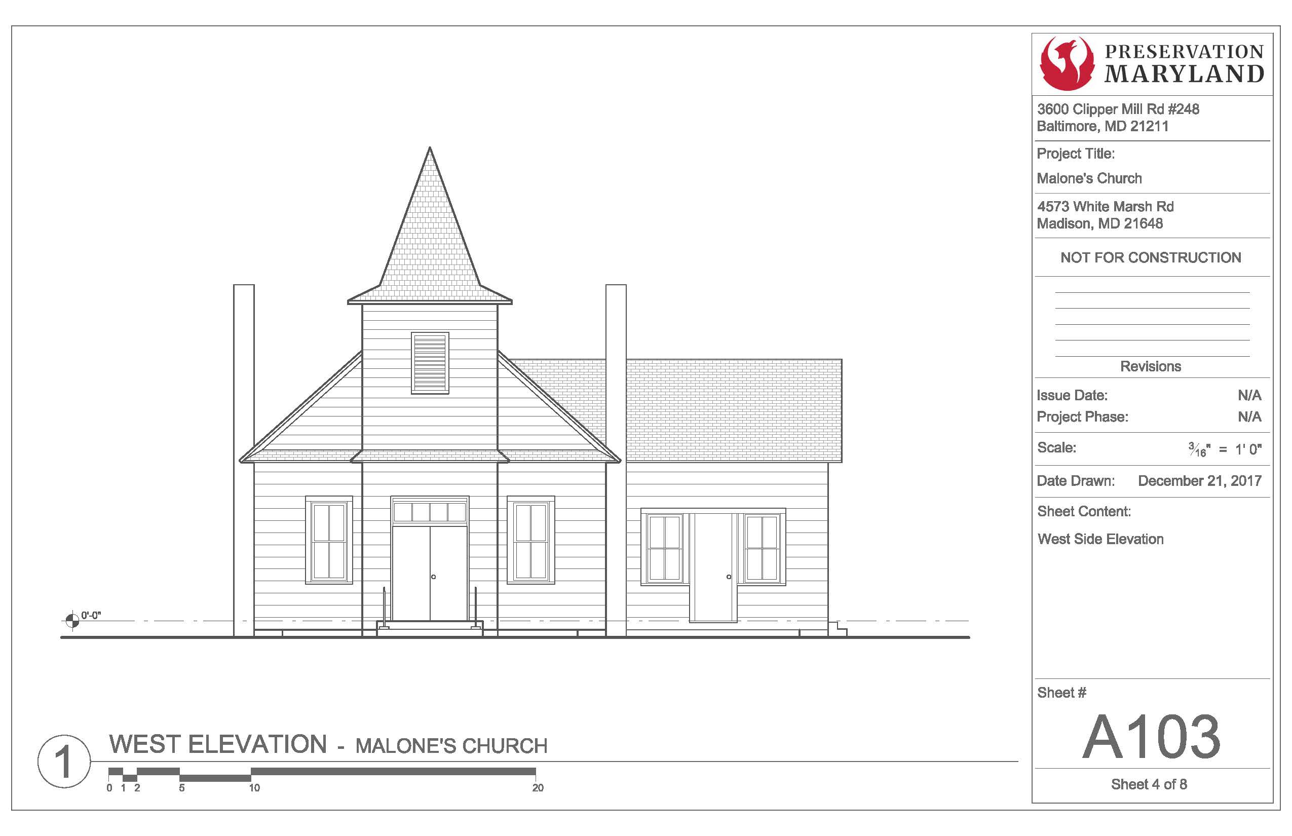 Architectural Drawing of Malone's Church West Elevation