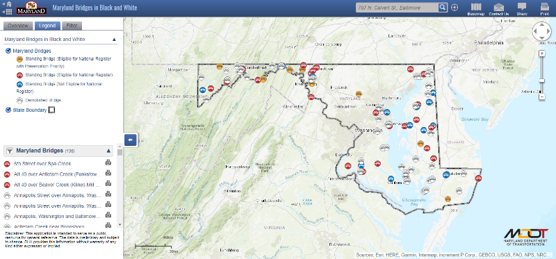 Screen capture of the Maryland Department of Transportation historic bridges map.