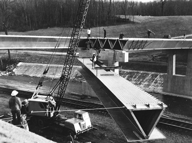 The aluminum Patapsco River Bridge was the first of its kind in Maryland, 1960s. Photo from the Maryland Department of Transportation.