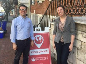 Preservation Maryland Executive Director Nicholas Redding and Washington County Historical Society Curator, Anna Cueto, 2018.