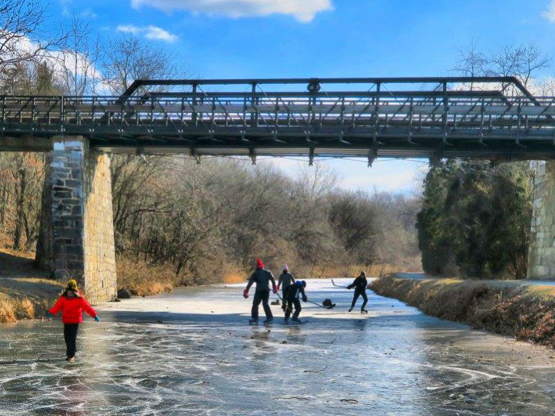 Skaters on the C&O Canal in Williamsport, MD. Photo by MJ Clinghan.
