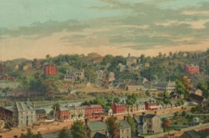 Historic 19th century painting of Ellicott City. Image from Library of Congress.